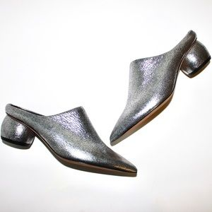 Vince Silver Eaton Metallic Sphere Heel Point Mule